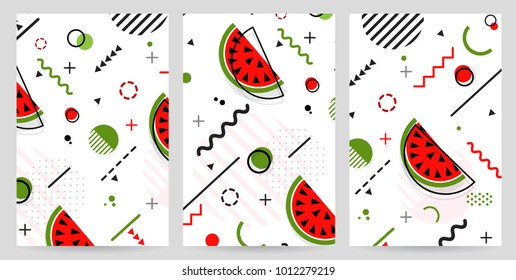 Trendy Memphis style watermelon geometric pattern, vector illustration with line elements and  geometric figures. Design backgrounds for invitation, brochure and promotion template Memphis fashion
