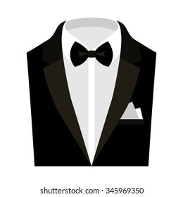 Trendy men's clothes with jacket, shirt, bow tie and handkerchief. Men's wardrobe. Vector illustration