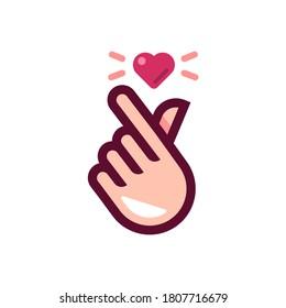 trendy mini heart love sticker vector, korean heart finger i love you sign icon vector illustration