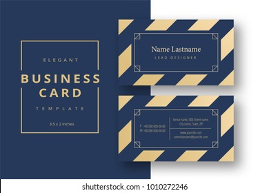 Trendy minimal abstract business card template in golden color. Modern corporate stationery id layout with geometric pattern. Vector fashion background design with information sample name text.