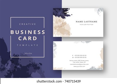 Trendy minimal abstract business card template in beige and blue. Modern corporate stationary id layout with geometric lines. Vector fashion background design with information sample name text.