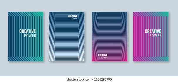 Trendy Minimal cover design layout template. Vector Geometric abstract halftone gradients.