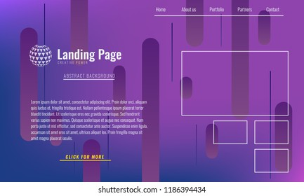 Trendy Minimal cover design layout or landing page web design template. Vector Geometric abstract halftone gradients.
