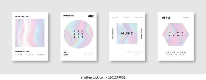 Trendy Minimal Iridescent Holographic Poster Layout Template Design.