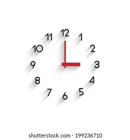Trendy minimalistic clock with transparent shadow. Vector EPS10