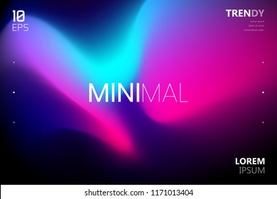 Trendy Minimalistic Fluid Blurred Gradient Background. Modern Backdrop for Poster, Brochure, Advertising, Placard, Invitation Card, Music Festival, Night Club, Landing Page Webside