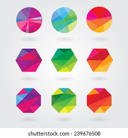 trendy modern abstract logo element designs in polygonal triangular geometric compositions- colorful business design icon shapes