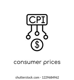 Trendy modern flat linear vector consumer prices index (cpi) icon on white background from thin line Consumer Prices Index (CPI) collection, outline vector