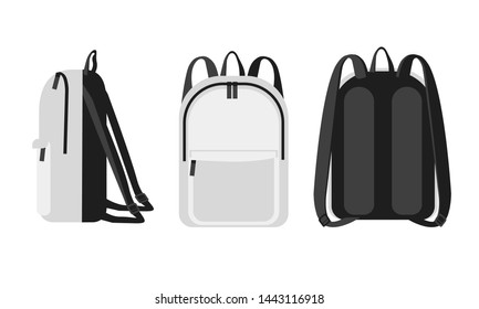 Trendy modern universal white  backpack  front, back and side veiw. Bag with Orthopedic back  study concept mockup. Tourism, female, lifestyle and school backpack vector illustration