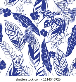 Trendy Monotone blue  tropical leaves and foliage seamless pattern vector in hand drawn style for fashion fabric and all prints on white background color