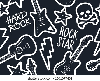 Trendy musical seamless pattern with guitars, skull and crossbones and other rock music symbols for teenage clothes design. Seamless rock music background
