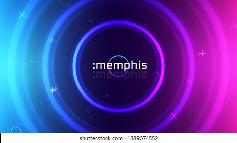 Trendy neon abstract background, memphis geometric texture, ultraviolet neon rave party, vibrant colors gradient, modern wallpaper