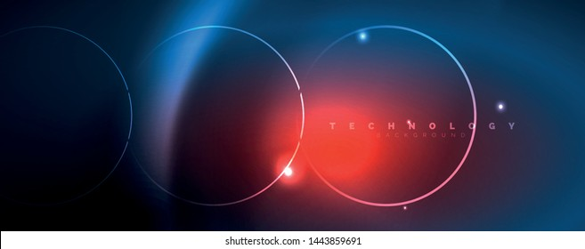 Trendy neon blue abstract design with waves and circles. Neon light glowing effect. Abstract digital background. Vector