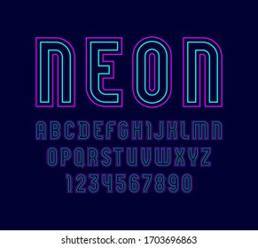Trendy neon font, modern alphabet from two colored lines, uppercase Latin letters from A to Z and Arab numbers from 0 to 9 for you designs, vector illustration 10EPS