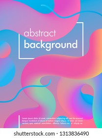 Trendy neon poster with flowing liquid shapes and geometric elements.Dynamic 3D fluid shapes.Bright abstract layout perfect for prints,flyers,banners,covers,parties,social media and more.