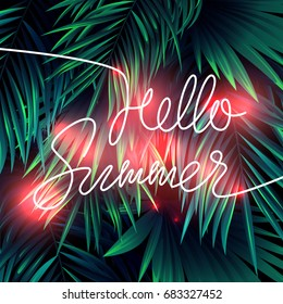 Trendy neon summer tropical design with exotic palm leaves and lettering. Vector illustration.