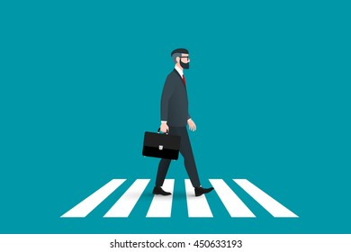 Trendy nerd hipster pedestrian crossing continental crosswalk. This businessman wearing a solid suit and goes forward while holding a briefcase. Abstract flat vector business conceptual illustration.
