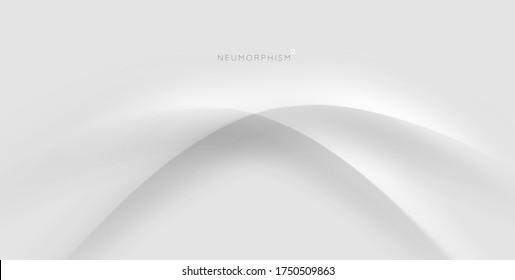 Trendy Neumorphismus Stil flüssige Kunststoff-Interface Hintergrund. Weiche, klare und einfache futuristische Neo Morphism gestalten Elemente Design. Eps10 Vektorgrafik.
