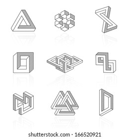 Trendy optical illusion shapes on white. Vector elements