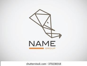 Trendy origami elephant logo vector. Low poly logotype