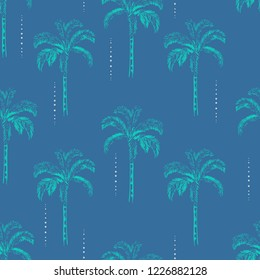 Trendy Palm and coconut trees silhouette on the sky blue background. Vector seamless pattern with tropical plants design for fashion,fabric wallapaper and all prints