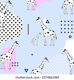 Trendy pasel giraffe seamless pattern background. Geometric vector illustration design with giraffes. Wallpaper, fabric, textile, wrapping paper design
