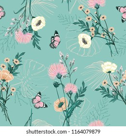 Trendy Pastel of  many kind of garden flower, plants ,botanical ,butterfly,seamless pattern vector design for fashion,fabric,wallpaper and all prints on green mint background color