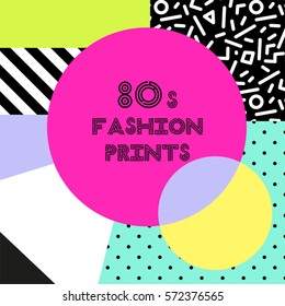 Trendy pattern in 80s style for your decoration, can be used as banner, frame, as throw pillows or phone cases design etc