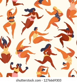 Trendy pattern with girls in summer swimsuits. Body positive. Vector seamless pattern.