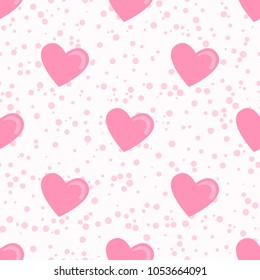 Trendy pattern pink heart and dots. Vector trend pastel isolated on white background. Concept Satisfying slime. ASMR.