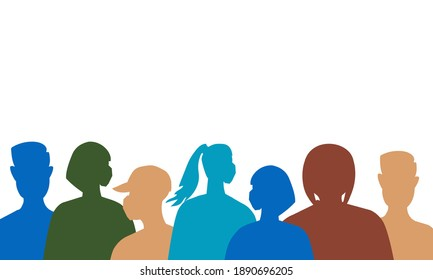 Trendy pattern of silhouettes of people in medical masks during the coronavirus period for textiles, paper, interior design, websites, publications, fabrics. Vector illustration.