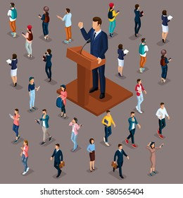 Trendy People Isometric vector 3D businessmen, people, students, teenagers, workers, meeting, voting, presidential election, speech at trebune, isolated on a dark background.