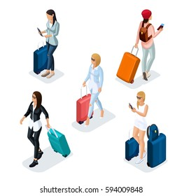 Trendy People Isometric vector 3D teenager, a young girl in a leather jacket, leather pants, stylish clothes, cool girl, traveler, vacation, airport, baggage, phone internet social networks.