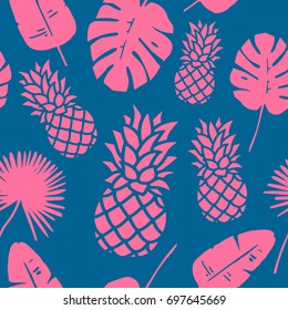Trendy Pineapple Background. Tropical Pattern Endless