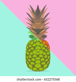 Trendy pineapple with vivid  pastel colors, summer fun. Trendy poster background.