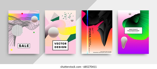 Trendy placard covers with abstract liquid bubbles shapes, 80s memphis geometric style flat and 3d design elements. Retro art for banners, flyers and posters. Eps10 vector illustrations.