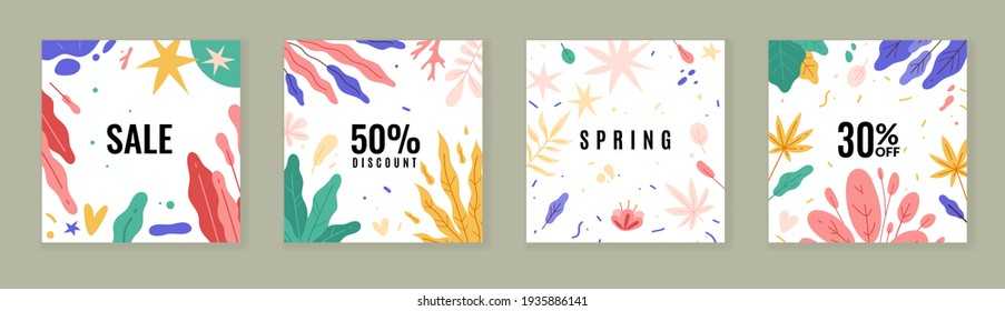 Trendy plants posters. Abstract floral sale banners, spring and summer discounts cards, tropical flowers brochure, modern design. Vector set