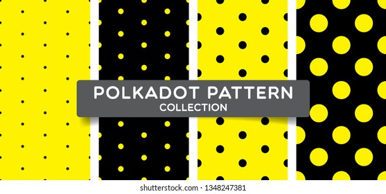 Trendy polka dots seamless pattern collection. black and yellow print design for textile, fabric, fashion, wallpaper, background. Vector eps 10