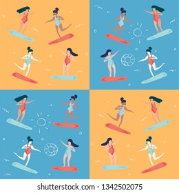 Trendy pop art vintage style vector pattern illustration for summer beach holidays promotion: surfer women or surfing wave girl. Sea season and Beach vacations concept.