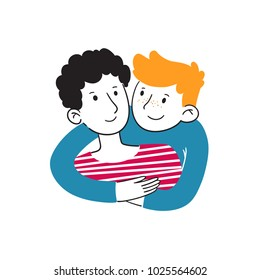 Trendy portrait of handsome young guys are embracing and smiling. Hugging couple. Embracing people. Colorful vector illustration in cartoon doodle hand drawn style. Illustration concept.