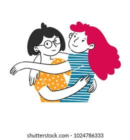 Trendy portrait of lovely girlfriends are embracing and smiling. Hugging couple. Colorful vector illustration in cartoon doodle hand drawn style.