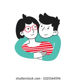 Trendy portrait of lovely young couple girl and guy are embracing and smiling. Hugging couple. Embracing people. Colorful vector illustration in cartoon doodle hand drawn style. Illustration concept.
