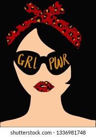 Trendy postcard about girl power with a woman portrait made from negative spaces EPS10
