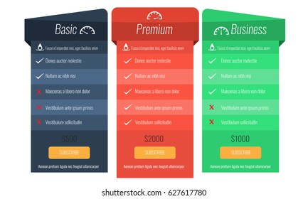 Trendy price list and offer columns. Three columns with blue, red and green color. Flat vector for your design