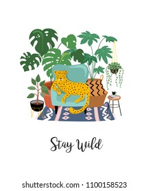 Trendy print with home decor with plants, planters, cacti and inspirational quote. Gardening concept