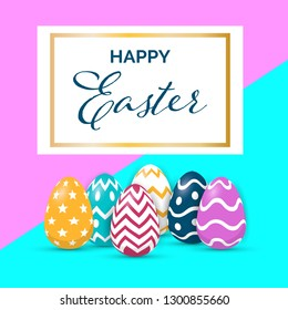 Trendy realistic gift card with colorful easter in 3d style. Vector illustration for poster, card, label, banner design.