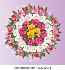 Trendy realistic vector illustration of rose bush or bouquet of roses. Spring or summer design, original floral template of invitation