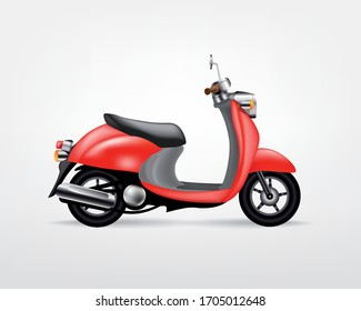 Trendy red electric scooter, isolated on white background. Isolated vector electric motorbike, template for branding and advertising.