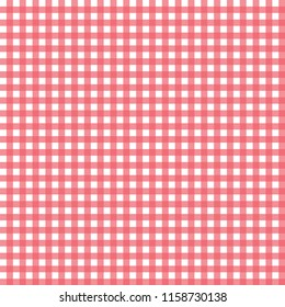 Trendy red and white vichy seamless pattern. Vintage fabric texture. Use for textile print, wrapping paper, tablecloth, kitchen decoration, packaging design food, jam, juice etc. Abstract vector.