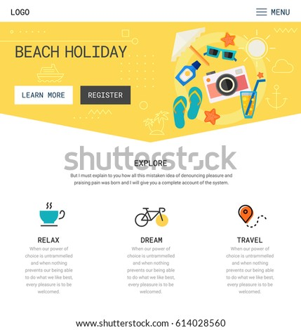 Trendy Responsive Landing Page One Page Stock Vector (Royalty Free ...